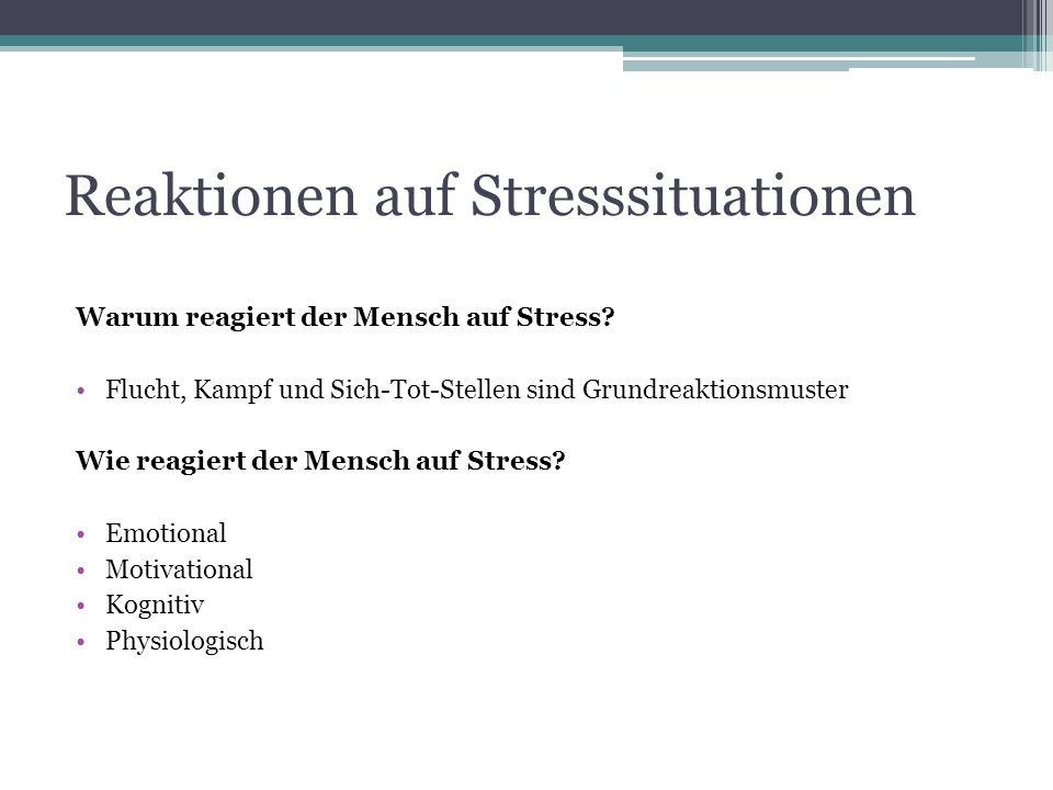 Reaktionen auf Stresssituationen Warum reagiert der Mensch auf Stress? Flucht, Kampf und Sich-Tot-Stellen sind Grundreaktionsmuster Wie reagiert der M