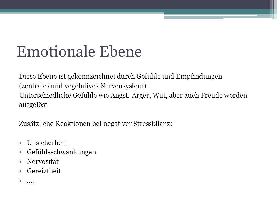 Emotionale Ebene Diese Ebene ist gekennzeichnet durch Gefühle und Empfindungen (zentrales und vegetatives Nervensystem) Unterschiedliche Gefühle wie A
