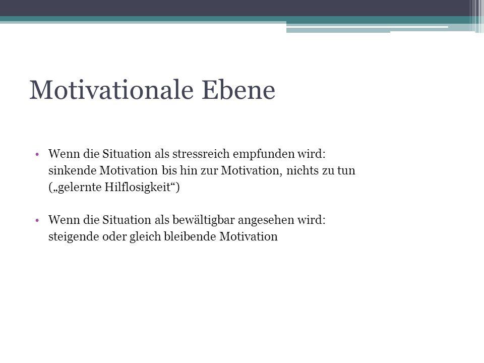 Motivationale Ebene Wenn die Situation als stressreich empfunden wird: sinkende Motivation bis hin zur Motivation, nichts zu tun (gelernte Hilflosigke