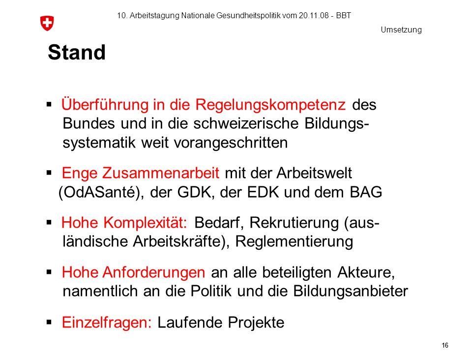 10. Arbeitstagung Nationale Gesundheitspolitik vom 20.11.08 - BBT 16 Stand Überführung in die Regelungskompetenz des Bundes und in die schweizerische