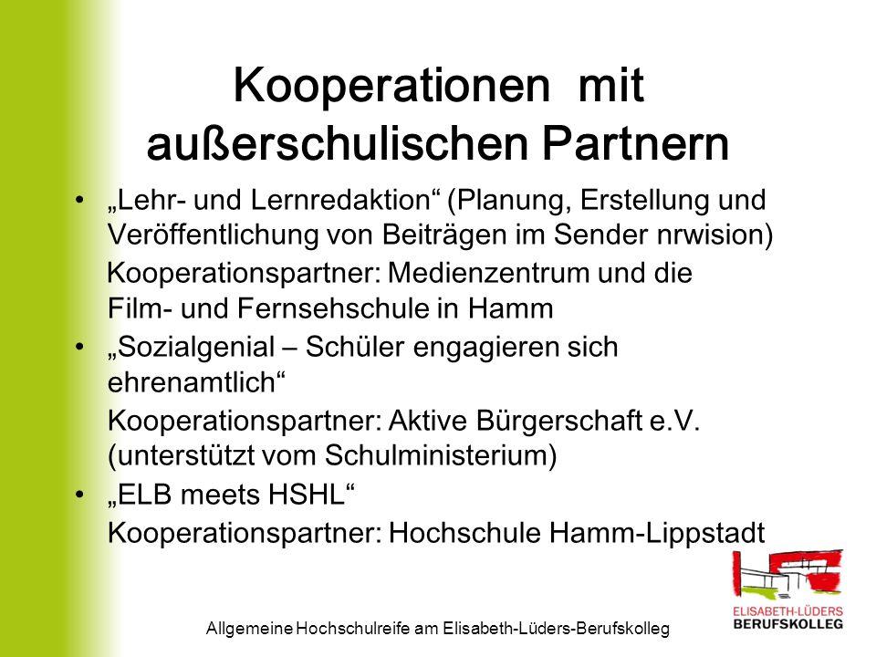 Kooperationen mit außerschulischen Partnern Lehr- und Lernredaktion (Planung, Erstellung und Veröffentlichung von Beiträgen im Sender nrwision) Kooper
