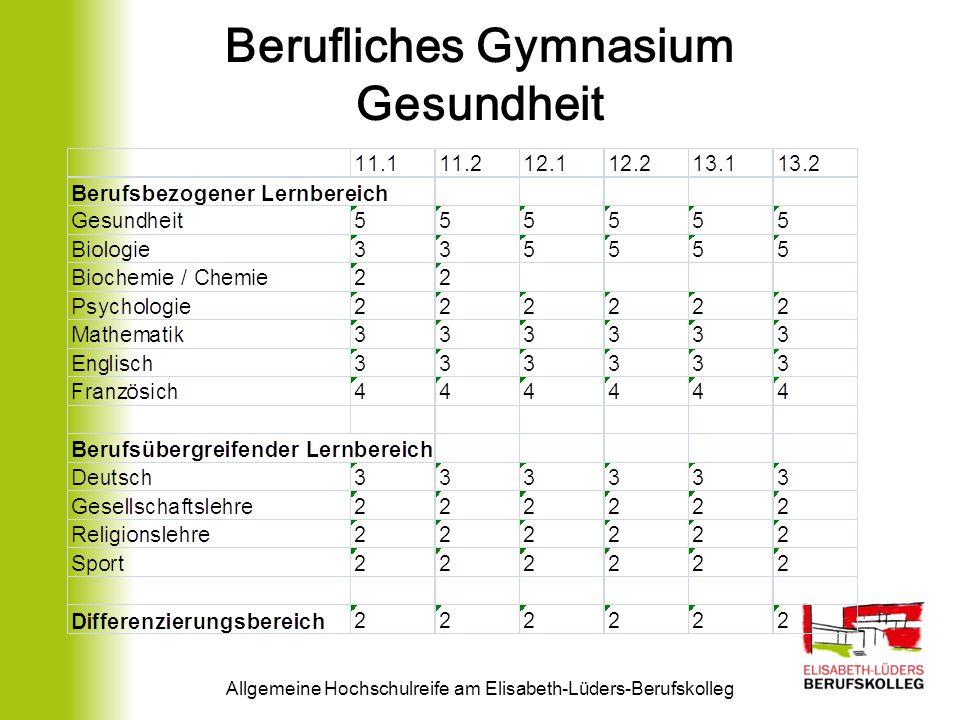Berufliches Gymnasium Gesundheit Allgemeine Hochschulreife am Elisabeth-Lüders-Berufskolleg