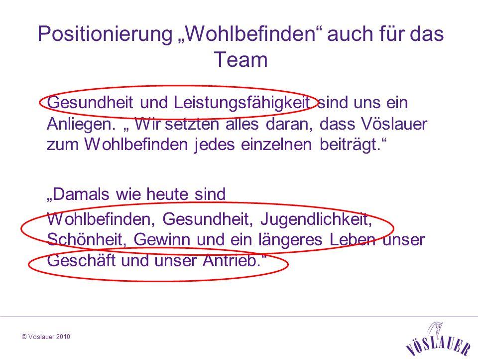 © Vöslauer 2010 Positionierung Wohlbefinden auch für das Team Gesundheit und Leistungsfähigkeit sind uns ein Anliegen.