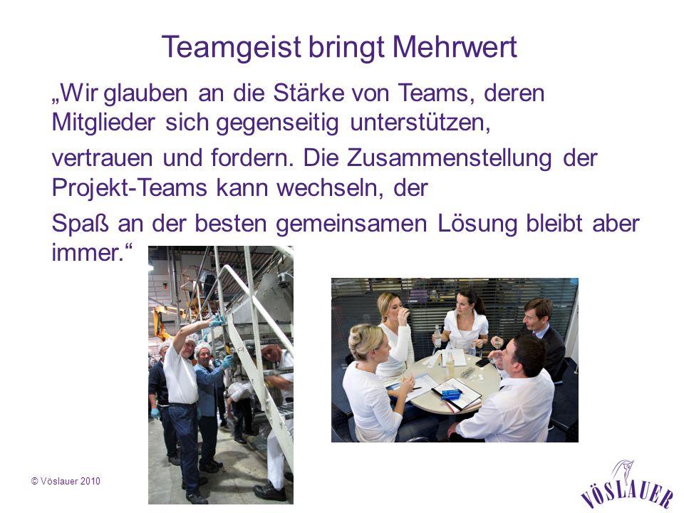 © Vöslauer 2010 Teamgeist bringt Mehrwert Wir glauben an die Stärke von Teams, deren Mitglieder sich gegenseitig unterstützen, vertrauen und fordern.