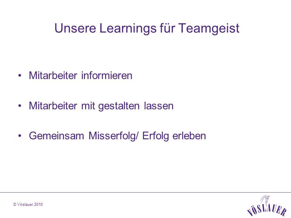 © Vöslauer 2010 Unsere Learnings für Teamgeist Mitarbeiter informieren Mitarbeiter mit gestalten lassen Gemeinsam Misserfolg/ Erfolg erleben