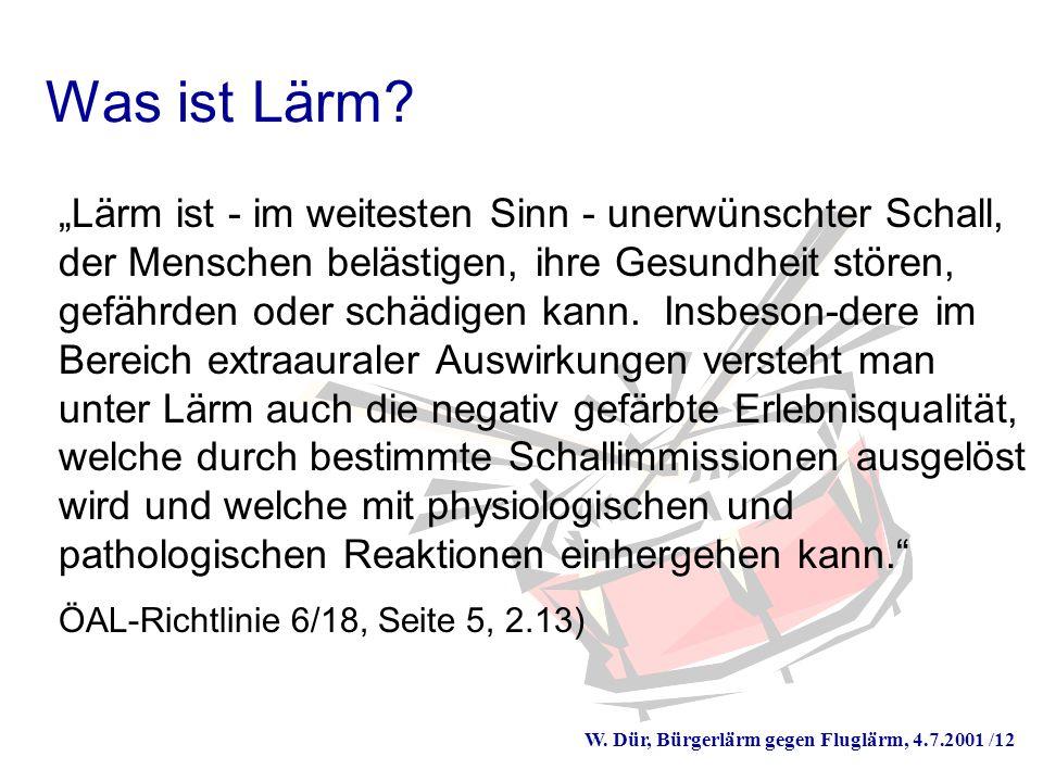 W. Dür, Bürgerlärm gegen Fluglärm, 4.7.2001 /12 Was ist Lärm.
