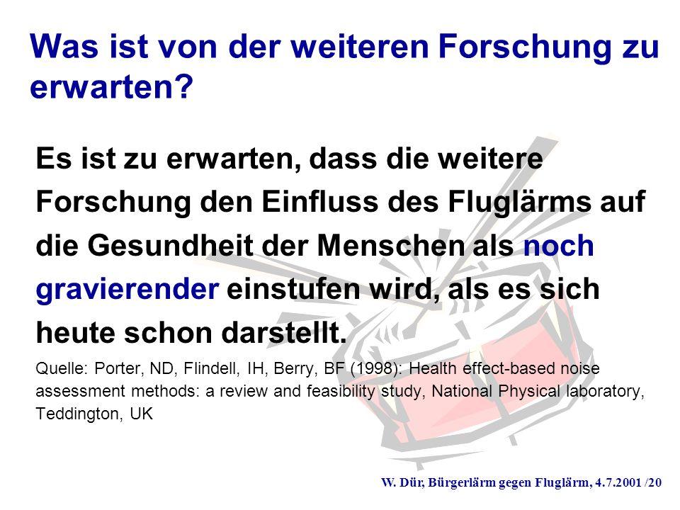 W. Dür, Bürgerlärm gegen Fluglärm, 4.7.2001 /20 Was ist von der weiteren Forschung zu erwarten.
