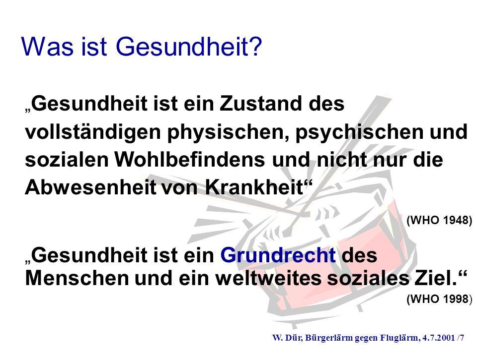 W. Dür, Bürgerlärm gegen Fluglärm, 4.7.2001 /7 Was ist Gesundheit.