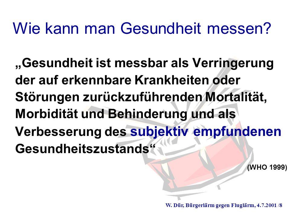 W. Dür, Bürgerlärm gegen Fluglärm, 4.7.2001 /8 Wie kann man Gesundheit messen.