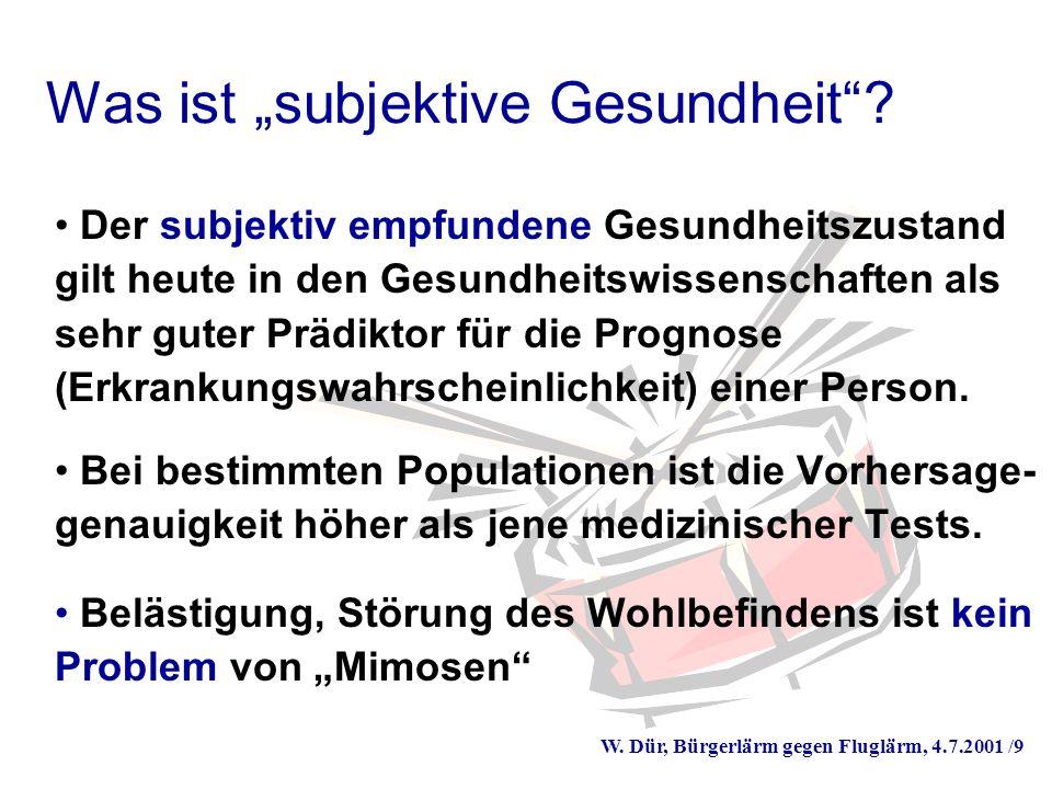 W. Dür, Bürgerlärm gegen Fluglärm, 4.7.2001 /9 Was ist subjektive Gesundheit.