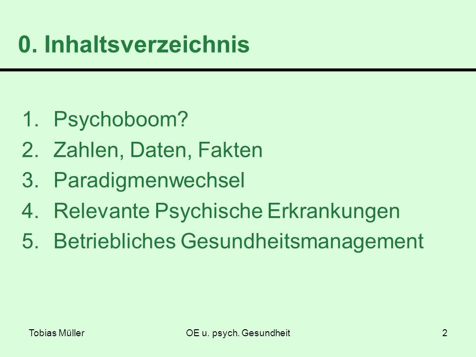 Tobias MüllerOE u. psych. Gesundheit2 0. Inhaltsverzeichnis 1.Psychoboom? 2.Zahlen, Daten, Fakten 3.Paradigmenwechsel 4.Relevante Psychische Erkrankun