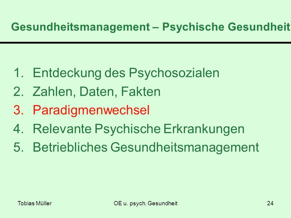 Tobias MüllerOE u. psych. Gesundheit24 Gesundheitsmanagement – Psychische Gesundheit 1.Entdeckung des Psychosozialen 2.Zahlen, Daten, Fakten 3.Paradig