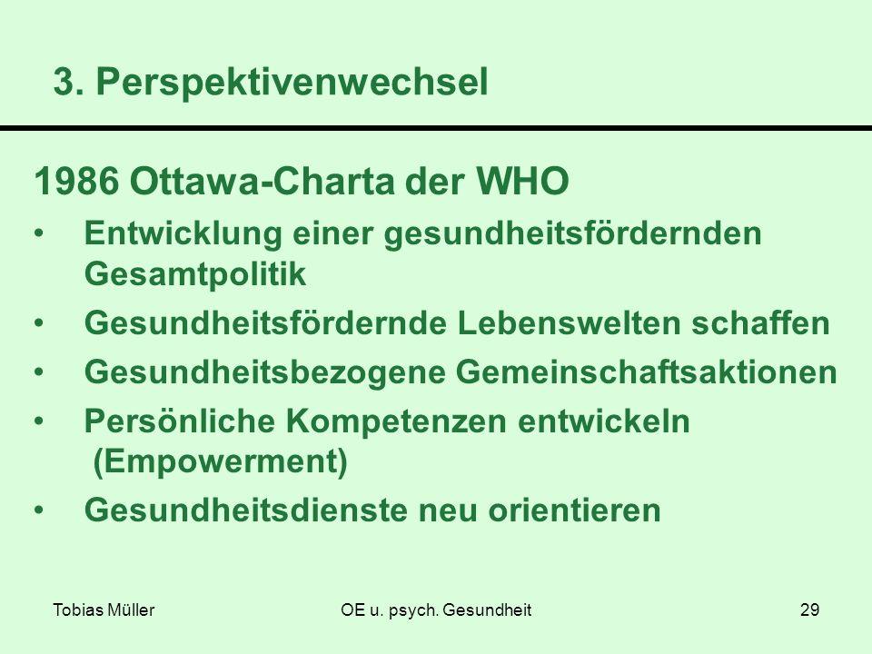 Tobias MüllerOE u. psych. Gesundheit29 1986 Ottawa-Charta der WHO Entwicklung einer gesundheitsfördernden Gesamtpolitik Gesundheitsfördernde Lebenswel