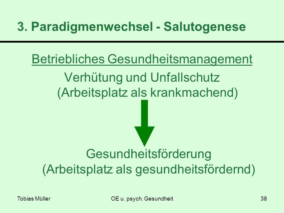 Tobias MüllerOE u. psych. Gesundheit38 Betriebliches Gesundheitsmanagement Verhütung und Unfallschutz (Arbeitsplatz als krankmachend) Gesundheitsförde
