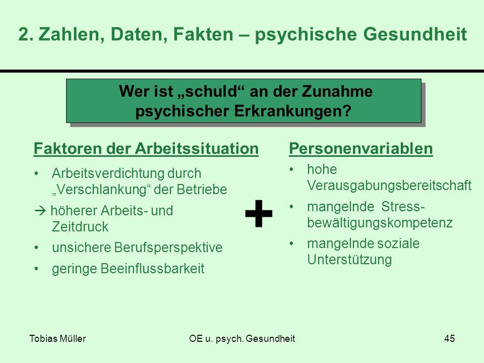 Tobias MüllerOE u. psych. Gesundheit45 Wer ist schuld an der Zunahme psychischer Erkrankungen? Faktoren der Arbeitssituation Personenvariablen hohe Ve