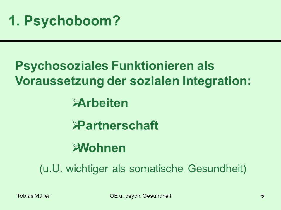 Tobias MüllerOE u. psych. Gesundheit5 1. Psychoboom? Psychosoziales Funktionieren als Voraussetzung der sozialen Integration: Arbeiten Partnerschaft W