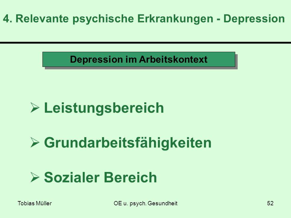 Tobias MüllerOE u. psych. Gesundheit52 4. Relevante psychische Erkrankungen - Depression Depression im Arbeitskontext Leistungsbereich Grundarbeitsfäh
