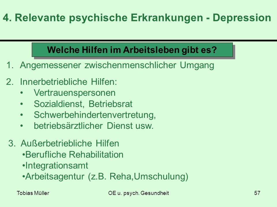 Tobias MüllerOE u. psych. Gesundheit57 4. Relevante psychische Erkrankungen - Depression Welche Hilfen im Arbeitsleben gibt es? 1.Angemessener zwische