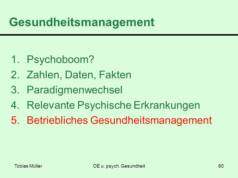 Tobias MüllerOE u. psych. Gesundheit60 Gesundheitsmanagement 1.Psychoboom? 2.Zahlen, Daten, Fakten 3.Paradigmenwechsel 4.Relevante Psychische Erkranku