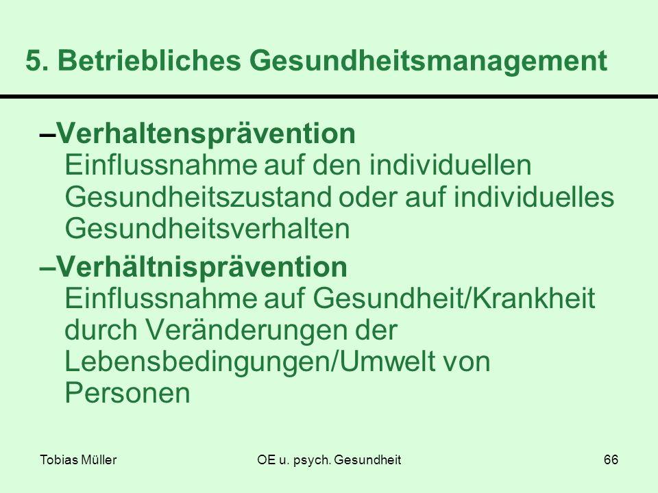 Tobias MüllerOE u. psych. Gesundheit66 5. Betriebliches Gesundheitsmanagement –Verhaltensprävention Einflussnahme auf den individuellen Gesundheitszus