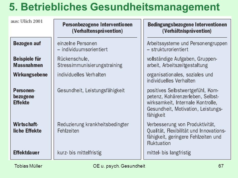 Tobias MüllerOE u. psych. Gesundheit67 5. Betriebliches Gesundheitsmanagement