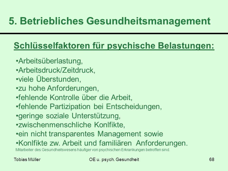Tobias MüllerOE u. psych. Gesundheit68 5. Betriebliches Gesundheitsmanagement Schlüsselfaktoren für psychische Belastungen: Arbeitsüberlastung, Arbeit