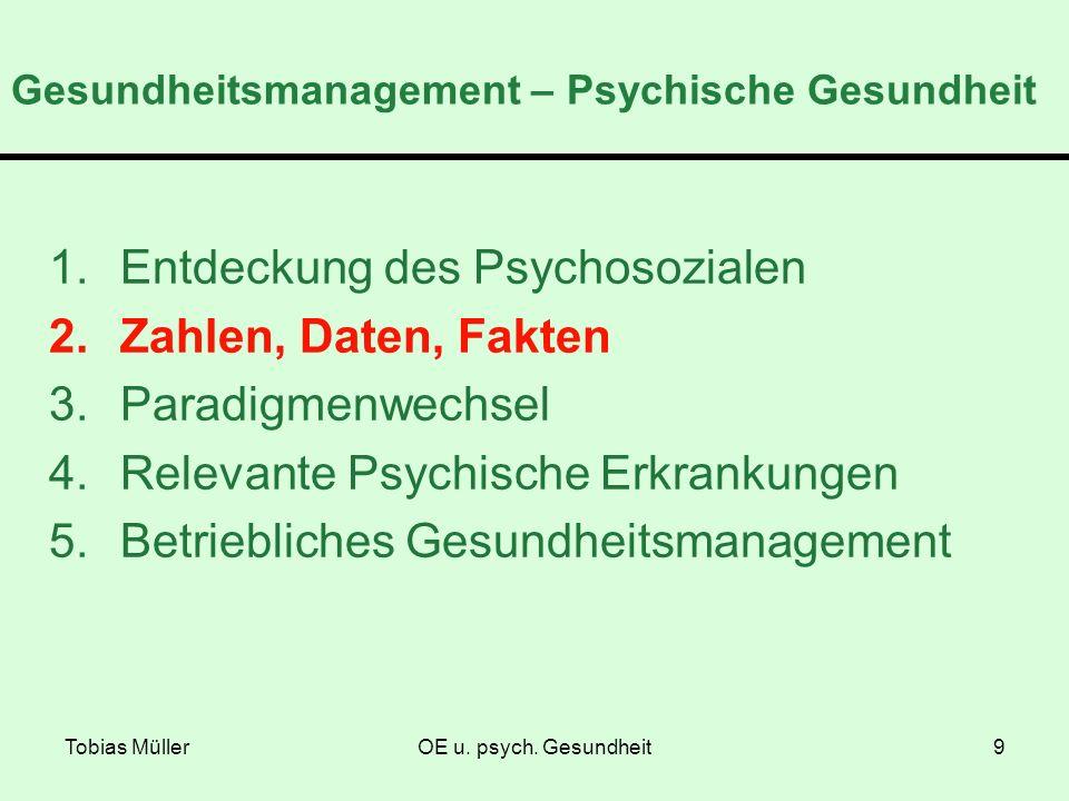 Tobias MüllerOE u. psych. Gesundheit9 Gesundheitsmanagement – Psychische Gesundheit 1.Entdeckung des Psychosozialen 2.Zahlen, Daten, Fakten 3.Paradigm