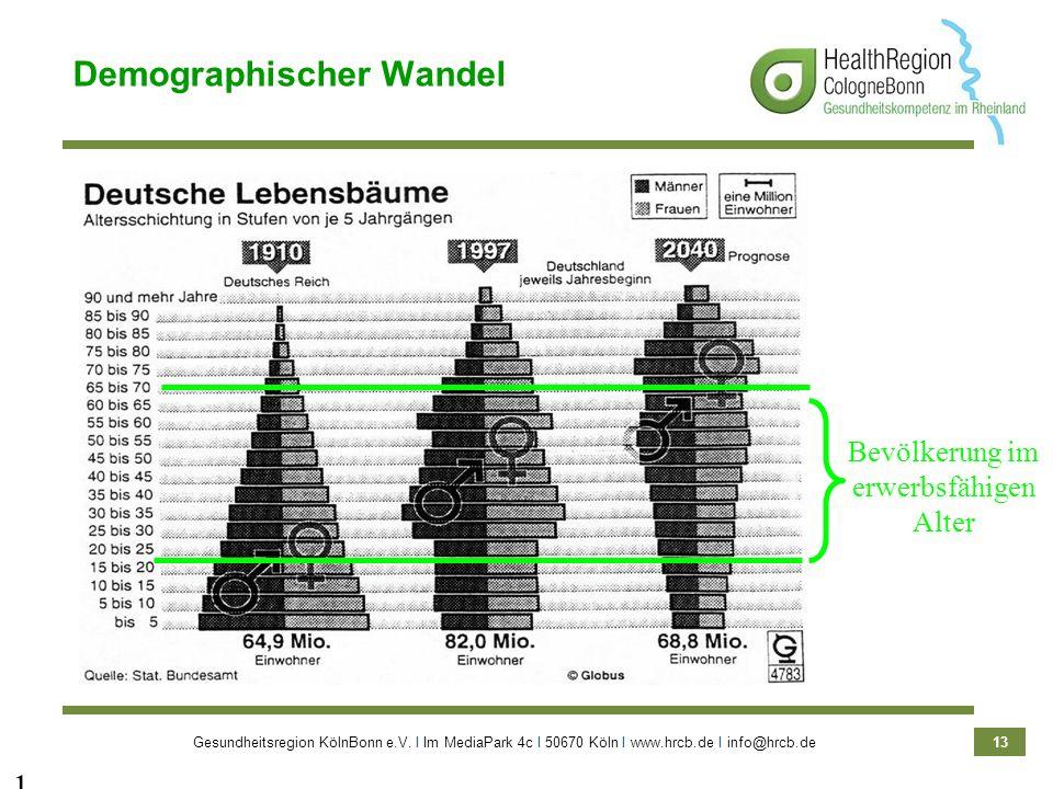 Gesundheitsregion KölnBonn e.V. Ι Im MediaPark 4c Ι 50670 Köln Ι www.hrcb.de Ι info@hrcb.de 13 13 Bevölkerung im erwerbsfähigen Alter Demographischer