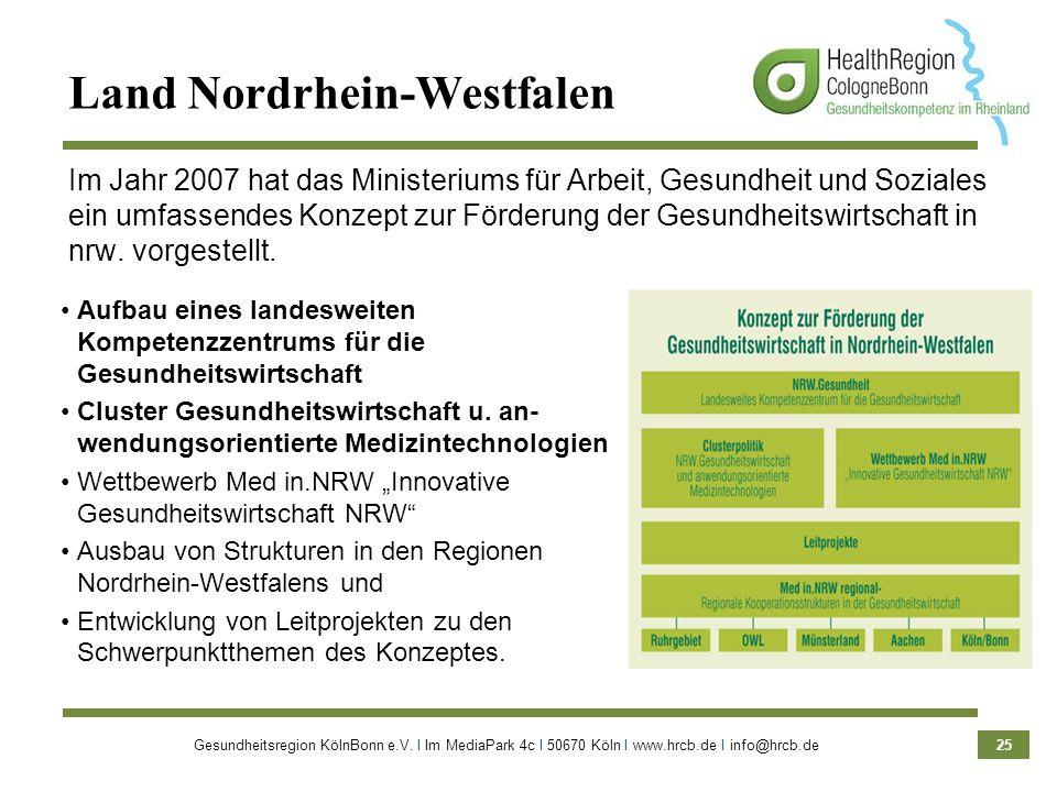 Gesundheitsregion KölnBonn e.V. Ι Im MediaPark 4c Ι 50670 Köln Ι www.hrcb.de Ι info@hrcb.de 25 Aufbau eines landesweiten Kompetenzzentrums für die Ges