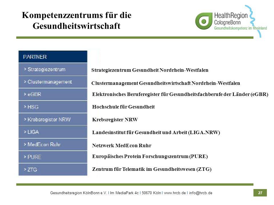 Gesundheitsregion KölnBonn e.V. Ι Im MediaPark 4c Ι 50670 Köln Ι www.hrcb.de Ι info@hrcb.de 27 Kompetenzzentrums für die Gesundheitswirtschaft Elektro