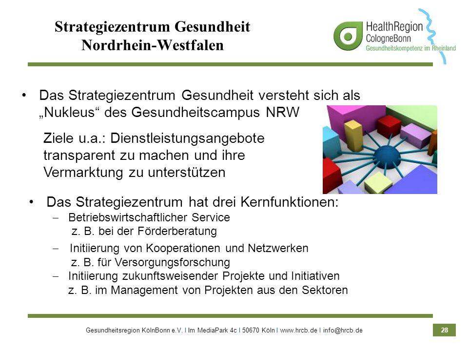 Gesundheitsregion KölnBonn e.V. Ι Im MediaPark 4c Ι 50670 Köln Ι www.hrcb.de Ι info@hrcb.de 28 Strategiezentrum Gesundheit Nordrhein-Westfalen Das Str