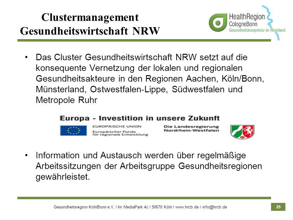 Gesundheitsregion KölnBonn e.V. Ι Im MediaPark 4c Ι 50670 Köln Ι www.hrcb.de Ι info@hrcb.de 29 Clustermanagement Gesundheitswirtschaft NRW Das Cluster