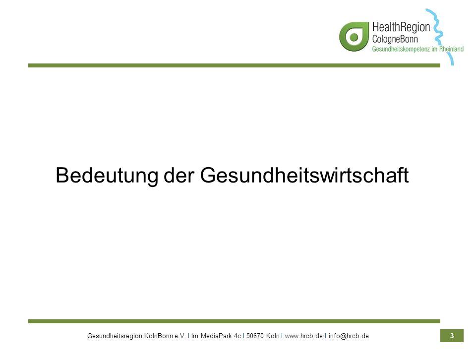 Gesundheitsregion KölnBonn e.V. Ι Im MediaPark 4c Ι 50670 Köln Ι www.hrcb.de Ι info@hrcb.de 3 Bedeutung der Gesundheitswirtschaft