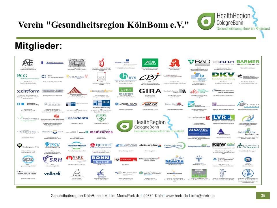 Gesundheitsregion KölnBonn e.V. Ι Im MediaPark 4c Ι 50670 Köln Ι www.hrcb.de Ι info@hrcb.de 35 Mitglieder: Verein