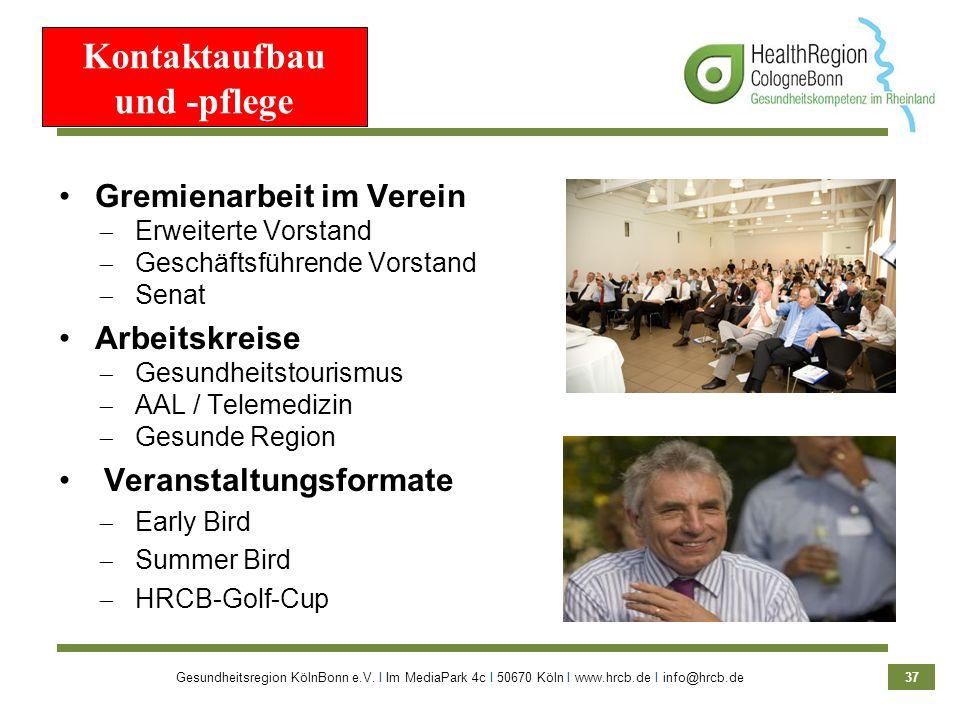 Gesundheitsregion KölnBonn e.V. Ι Im MediaPark 4c Ι 50670 Köln Ι www.hrcb.de Ι info@hrcb.de 37 Kontaktaufbau und -pflege Gremienarbeit im Verein Erwei