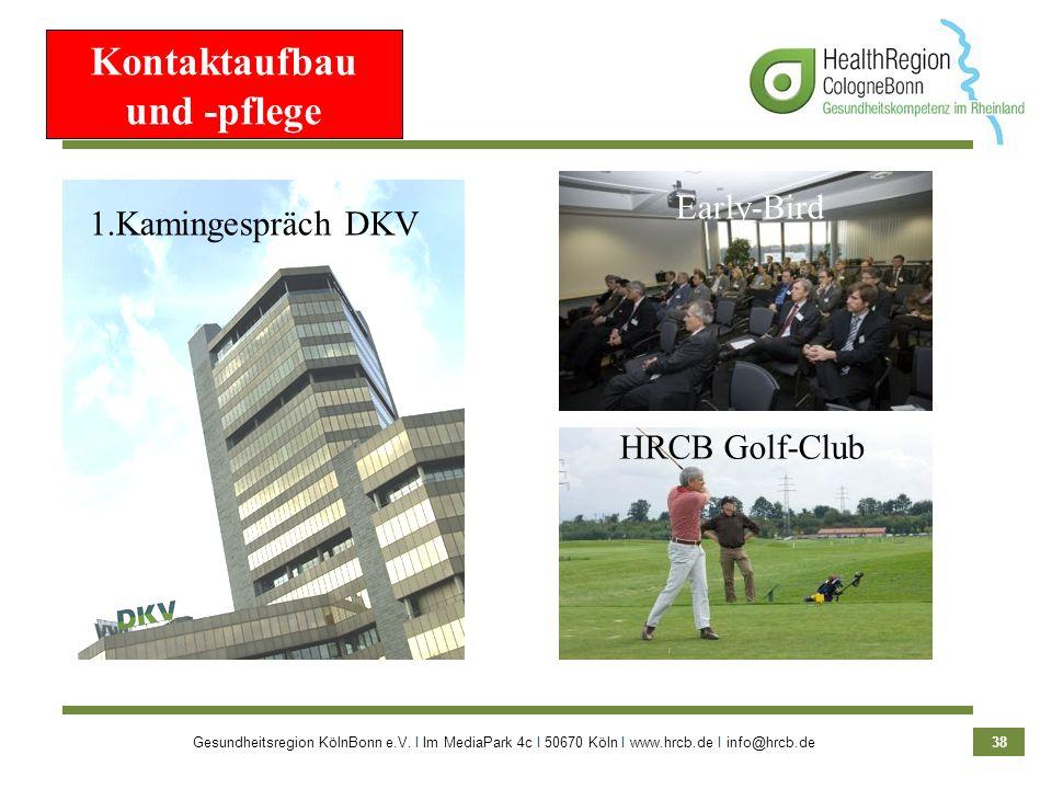 Gesundheitsregion KölnBonn e.V. Ι Im MediaPark 4c Ι 50670 Köln Ι www.hrcb.de Ι info@hrcb.de 38 Kontaktaufbau und -pflege 1.Kamingespräch DKV HRCB Golf