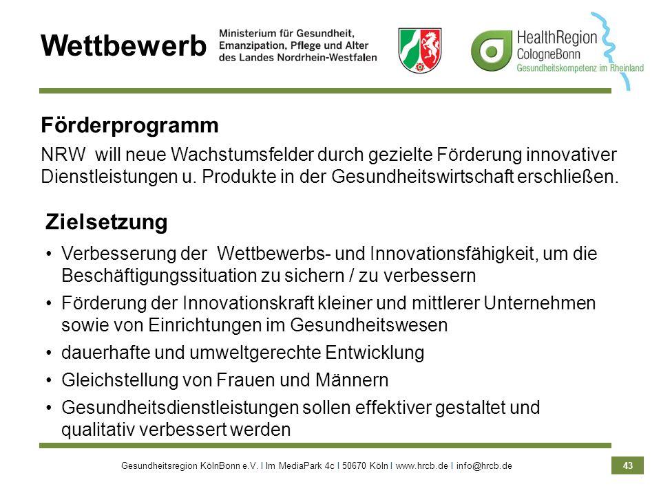 Gesundheitsregion KölnBonn e.V. Ι Im MediaPark 4c Ι 50670 Köln Ι www.hrcb.de Ι info@hrcb.de 43 Wettbewerb Förderprogramm NRW will neue Wachstumsfelder