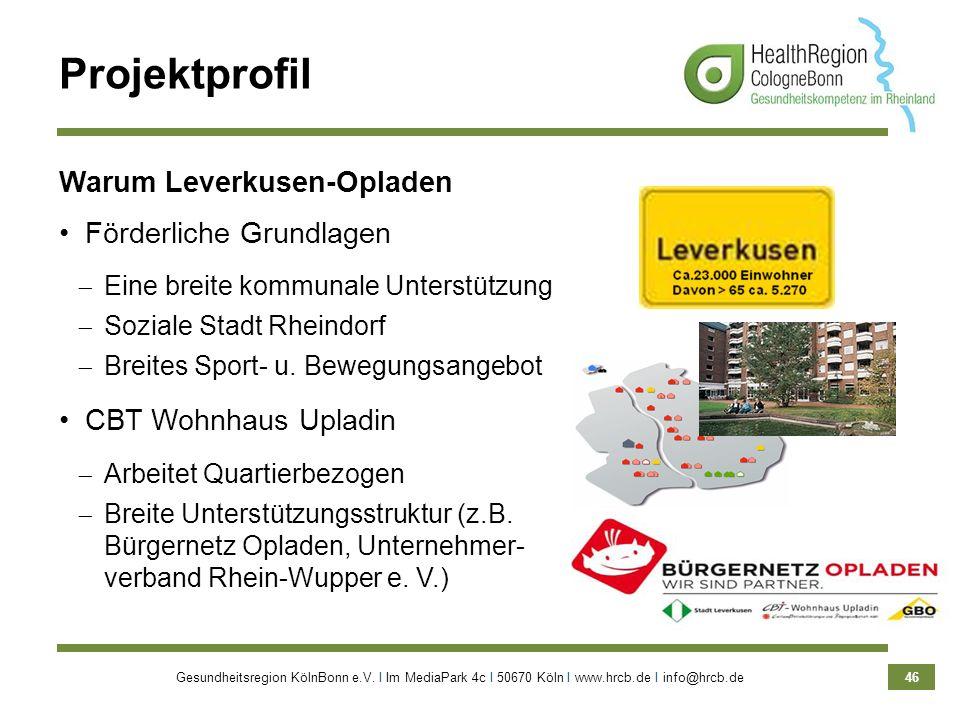 Gesundheitsregion KölnBonn e.V. Ι Im MediaPark 4c Ι 50670 Köln Ι www.hrcb.de Ι info@hrcb.de 46 Projektprofil Warum Leverkusen-Opladen Förderliche Grun