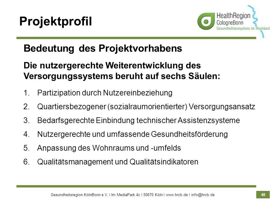 Gesundheitsregion KölnBonn e.V. Ι Im MediaPark 4c Ι 50670 Köln Ι www.hrcb.de Ι info@hrcb.de 48 Die nutzergerechte Weiterentwicklung des Versorgungssys