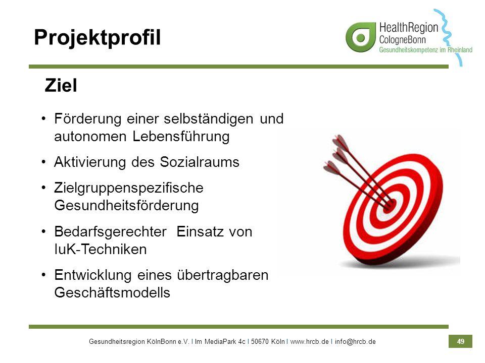 Gesundheitsregion KölnBonn e.V. Ι Im MediaPark 4c Ι 50670 Köln Ι www.hrcb.de Ι info@hrcb.de 49 Projektprofil Förderung einer selbständigen und autonom