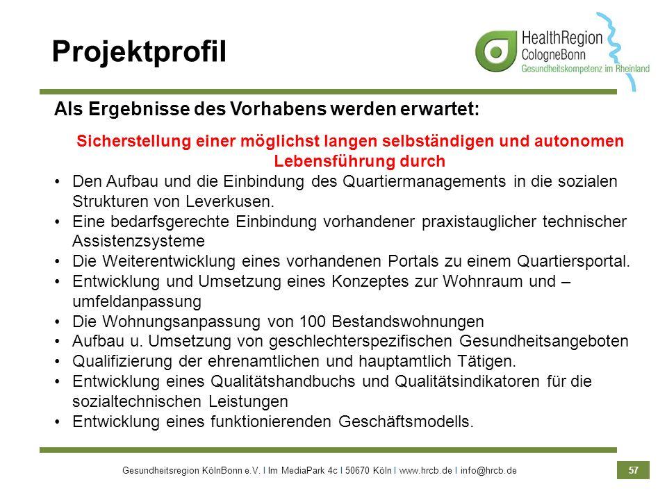Gesundheitsregion KölnBonn e.V. Ι Im MediaPark 4c Ι 50670 Köln Ι www.hrcb.de Ι info@hrcb.de 57 Projektprofil Als Ergebnisse des Vorhabens werden erwar