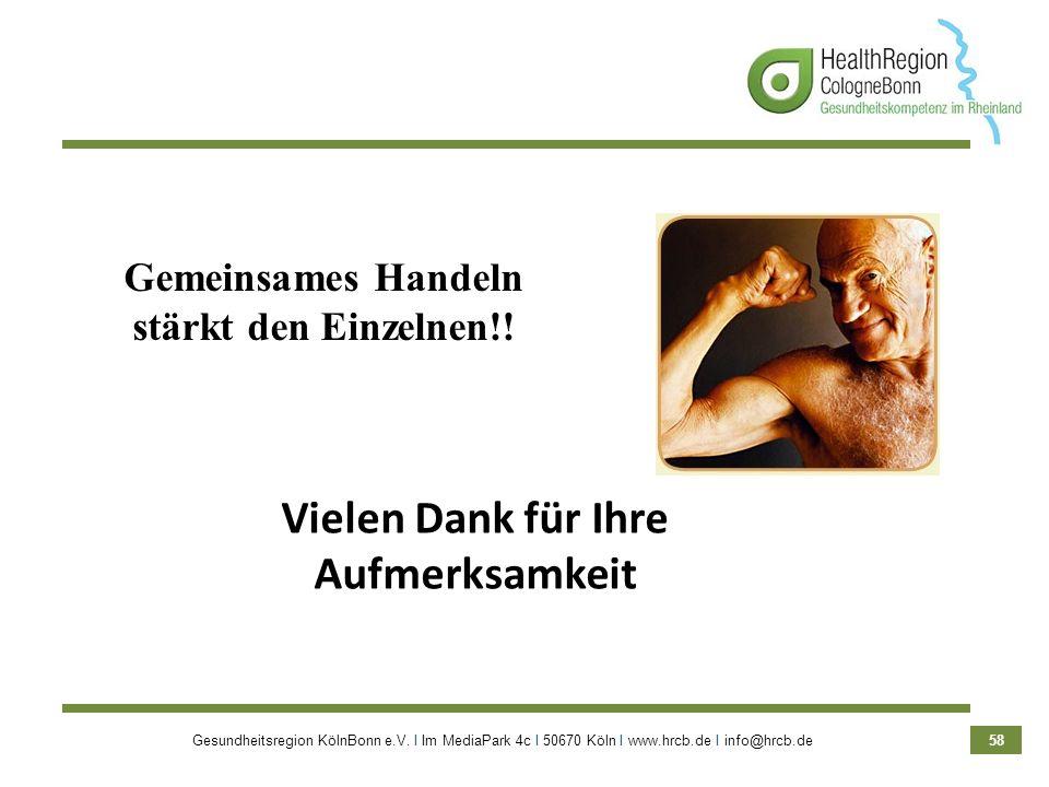 Gesundheitsregion KölnBonn e.V. Ι Im MediaPark 4c Ι 50670 Köln Ι www.hrcb.de Ι info@hrcb.de 58 Gemeinsames Handeln stärkt den Einzelnen!! Vielen Dank