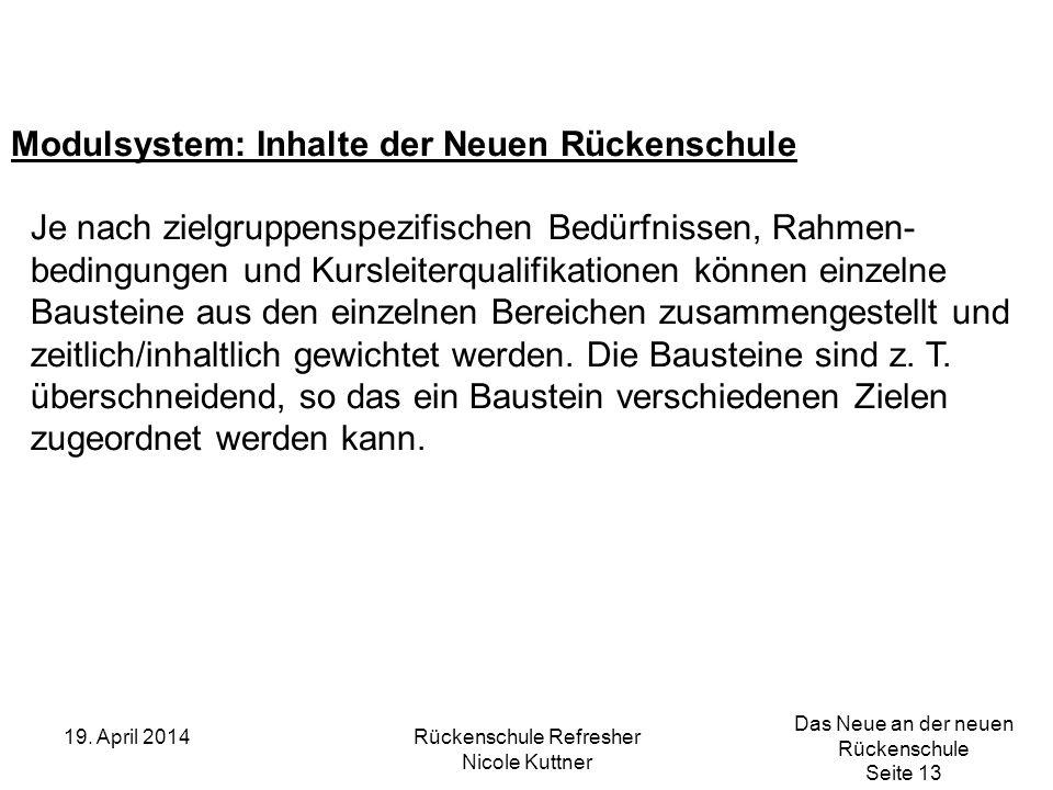 Das Neue an der neuen Rückenschule Seite 13 19. April 2014Rückenschule Refresher Nicole Kuttner Modulsystem: Inhalte der Neuen Rückenschule Je nach zi