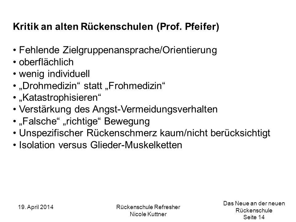 Das Neue an der neuen Rückenschule Seite 14 19. April 2014Rückenschule Refresher Nicole Kuttner Kritik an alten Rückenschulen (Prof. Pfeifer) Fehlende