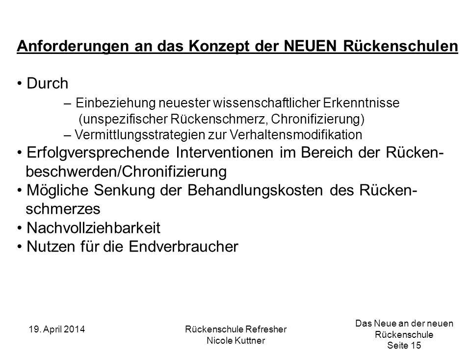 Das Neue an der neuen Rückenschule Seite 15 19. April 2014Rückenschule Refresher Nicole Kuttner Anforderungen an das Konzept der NEUEN Rückenschulen D