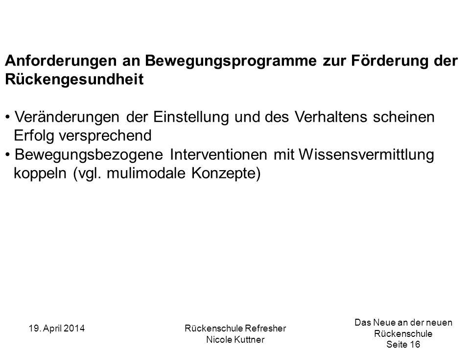 Das Neue an der neuen Rückenschule Seite 16 19. April 2014Rückenschule Refresher Nicole Kuttner Anforderungen an Bewegungsprogramme zur Förderung der
