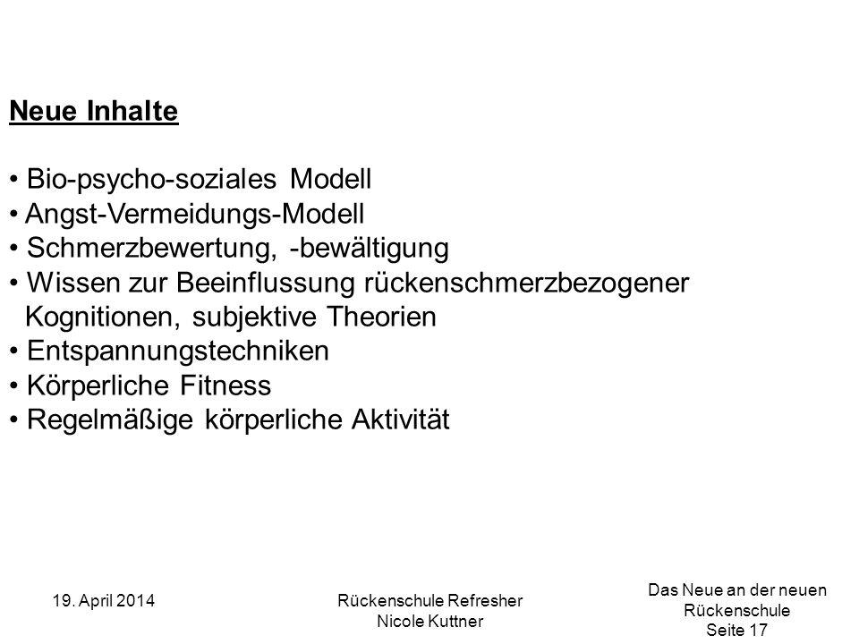 Das Neue an der neuen Rückenschule Seite 17 19. April 2014Rückenschule Refresher Nicole Kuttner Neue Inhalte Bio-psycho-soziales Modell Angst-Vermeidu