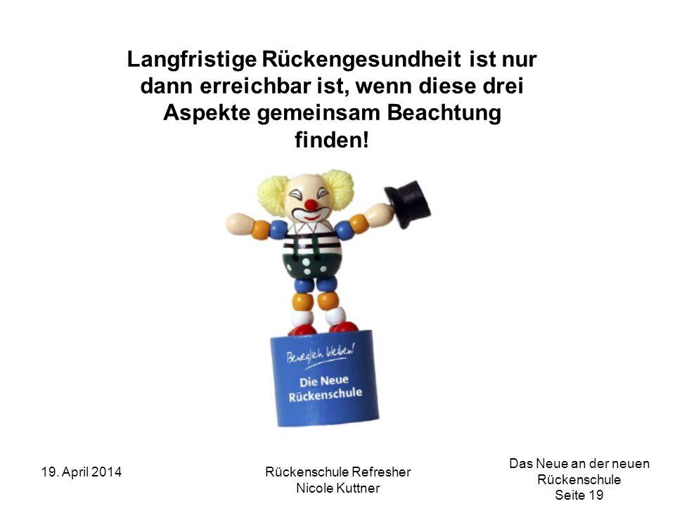 Das Neue an der neuen Rückenschule Seite 19 19. April 2014Rückenschule Refresher Nicole Kuttner Langfristige Rückengesundheit ist nur dann erreichbar
