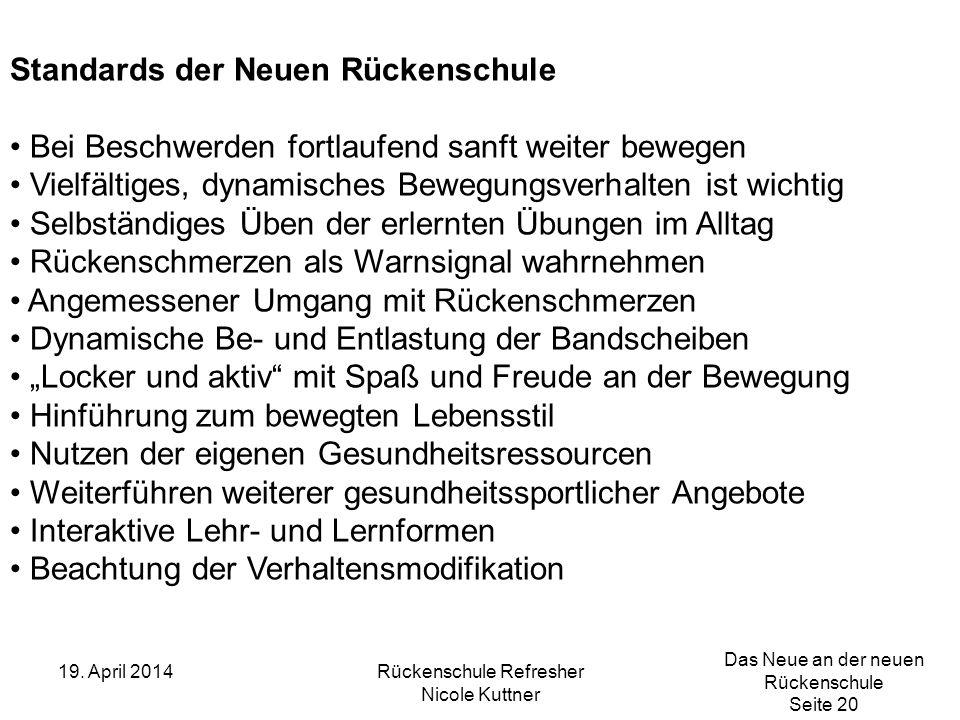 Das Neue an der neuen Rückenschule Seite 20 19. April 2014Rückenschule Refresher Nicole Kuttner Standards der Neuen Rückenschule Bei Beschwerden fortl