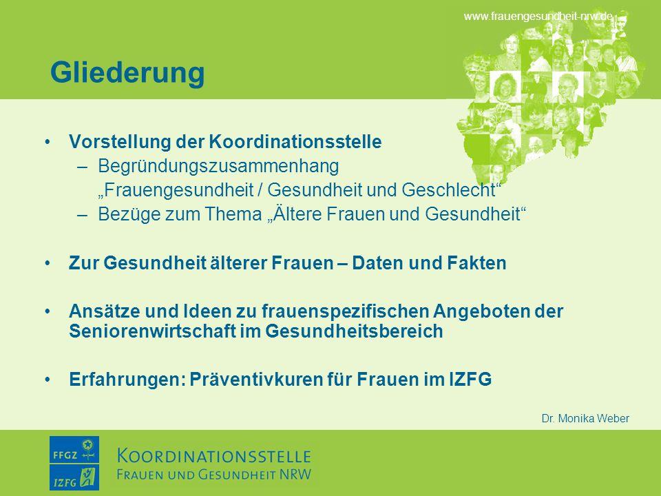 www.frauengesundheit-nrw.de Dr. Monika Weber Gliederung Vorstellung der Koordinationsstelle –Begründungszusammenhang Frauengesundheit / Gesundheit und